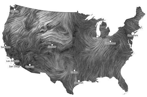 Animated wind map of the United States