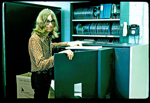 David Woolley in the CERL PLATO computer room circa 1973
