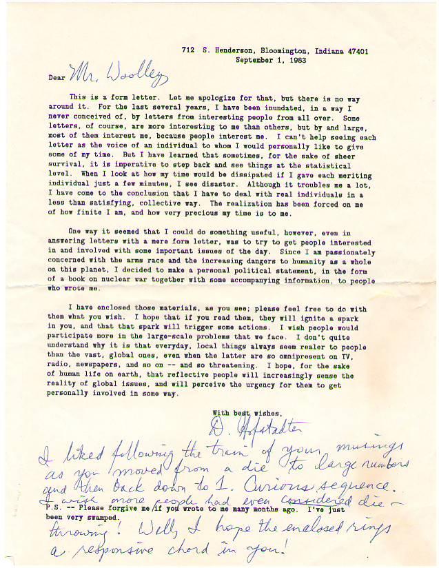 Letter from Douglas Hofstadter