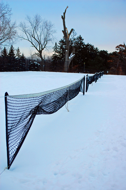 Tennis Nets in Snow