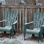 Lawn Chairs Dusted with Snow