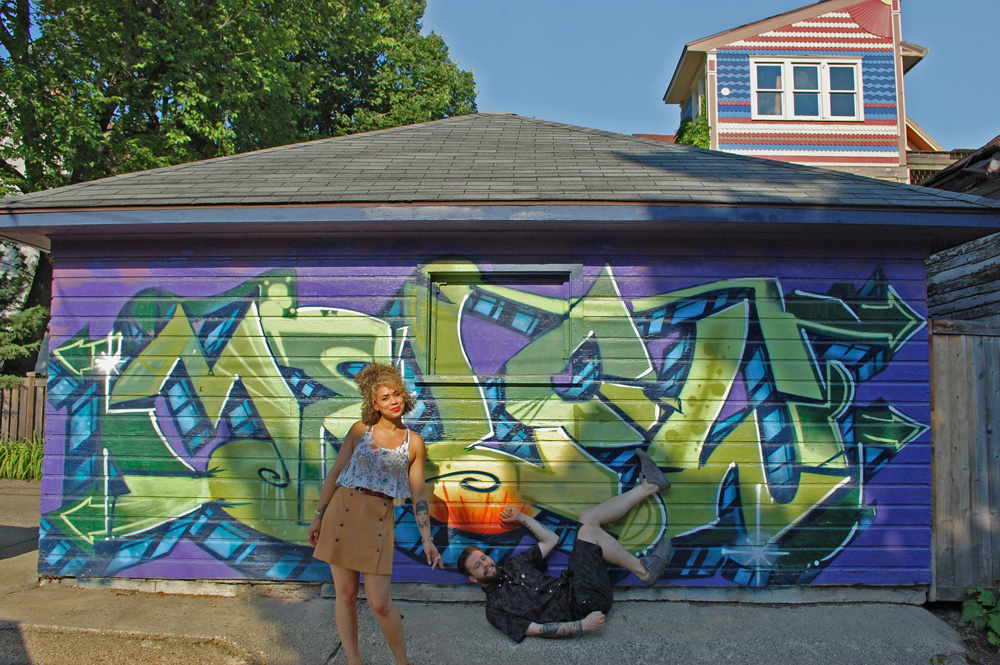 Ben and Creanna with Ben's Garage Art